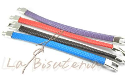 Foto pulseras de colores de cuero espiguilla trenzado