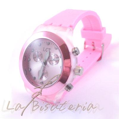 reloj neon color rosa